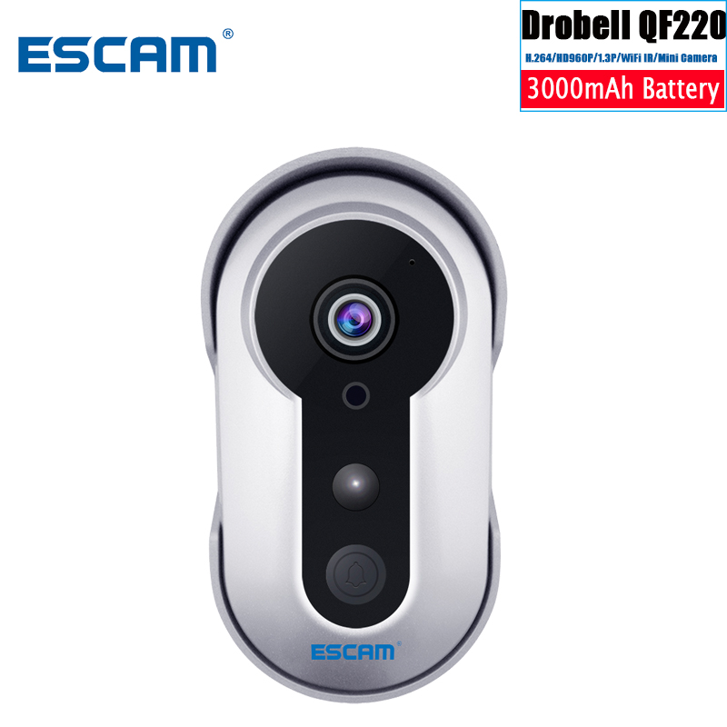 ESCAM Doorbell QF220 HD 960 Built In 3000 MAH Battery Infrared Wireless Smart Doorbell 960P P2P Mini IP IR Surveillance Cameras