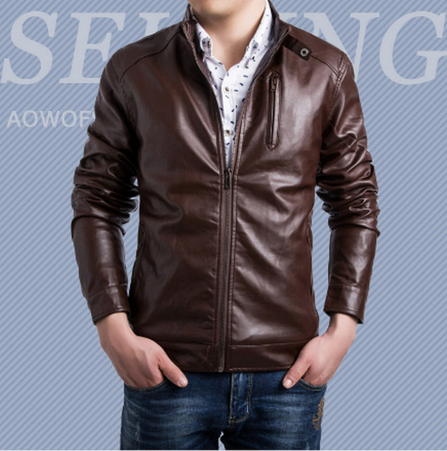 Popular PU leather jackets men winter wind waterproof leather ...