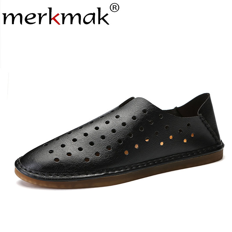 Merkmak Men Shoes Casual Men's Loafers Spring Slip-On Flat Fashion New Anti-Skid Hollow