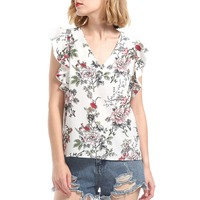Floral Print Chiffon Shirts Fashion Short Sleeve Summer Women Casual Blouses Blouses