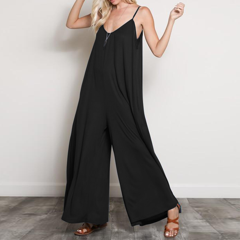 2018 Summer ZANZEA Sexy Women Strappy V Neck Loose Long Jumpsuits Casual Solid Rompers Overalls Beach Boho Wide Leg Pants Plus