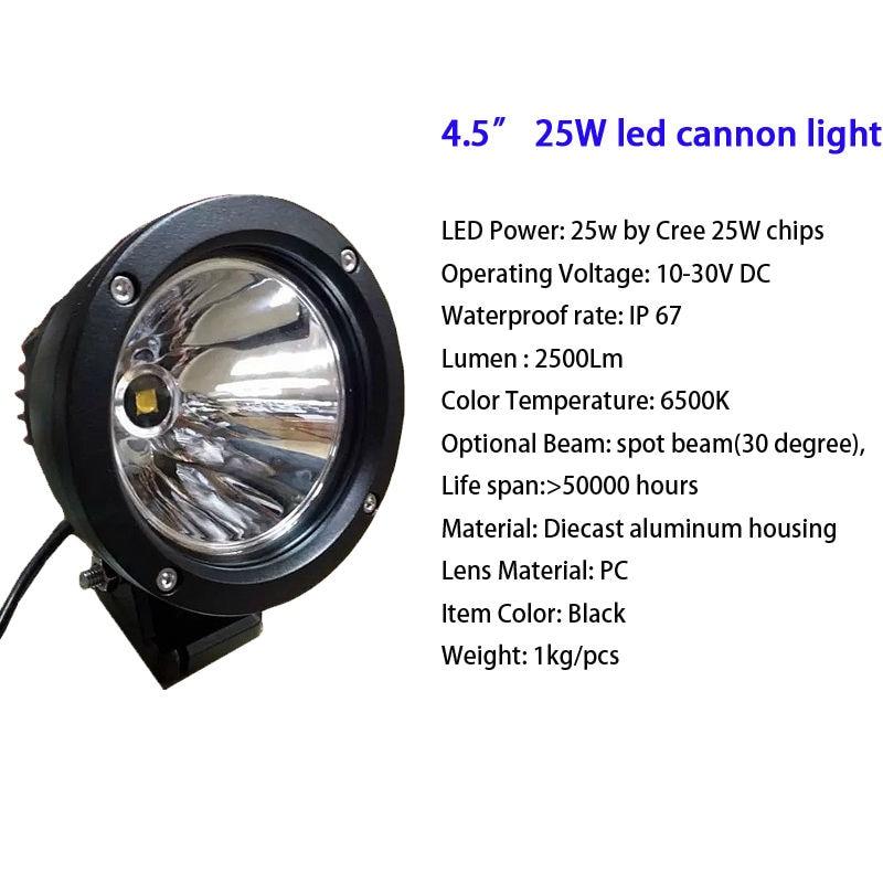 25W 4,5 ιντσών Led Cannon Στρογγυλά Spot - Φώτα αυτοκινήτων - Φωτογραφία 2