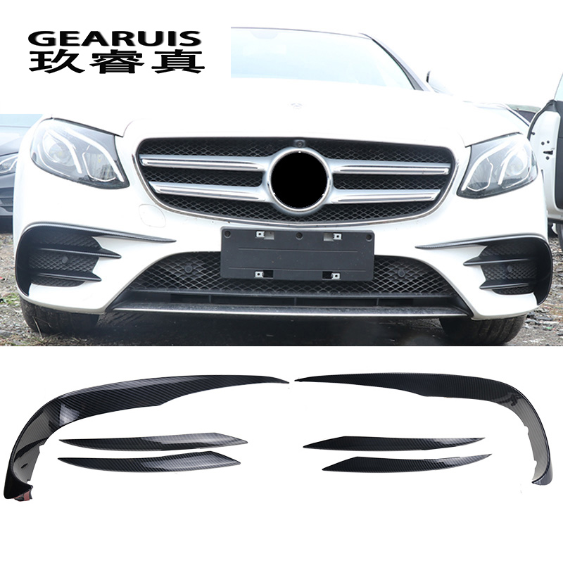 Car Styling for Mercedes Benz E Class E43 E63 For AMG head Front Fog Light Lamp carbon fiber Trim Cover Sticker Auto Accessories