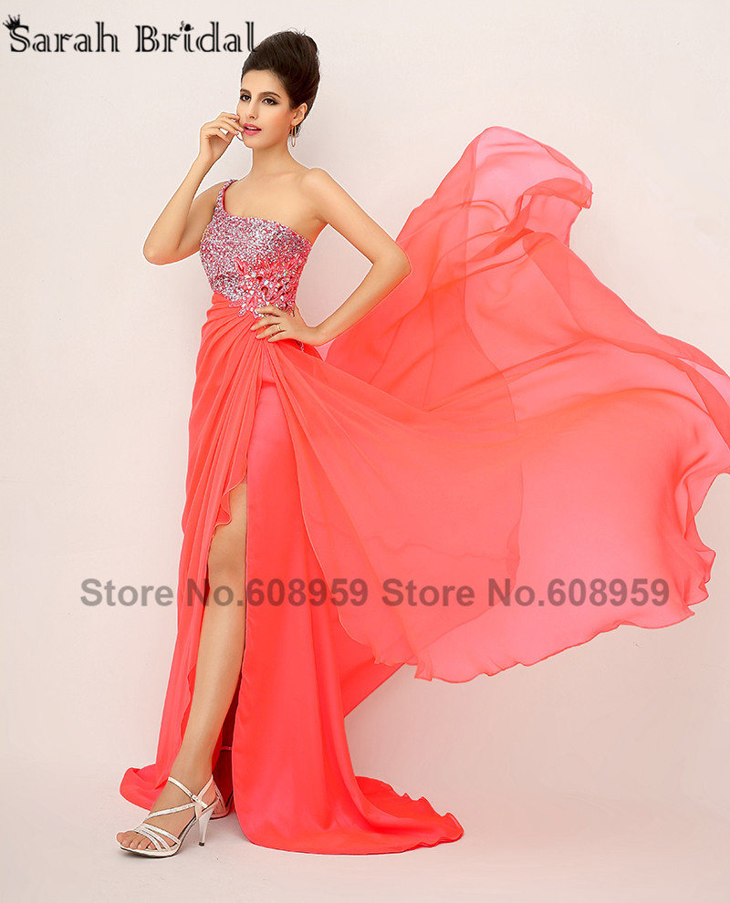 In Stock Elegant One Shoulder Evening Dresses Crystals Sexy High Slit Prom Dresses Pleat Chiffon Sequined Real Sample XU014-in Evening Dresses from Weddings & Events    2