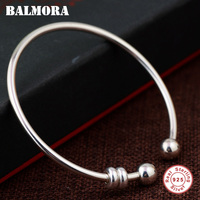 BALMORA 925 Sterling Silver Round Open Bangles for Women Men Gift Simple Fashion Jewelry about 19cm Bracelet Pulsera SY50353