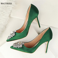 8c6101bc6 New Spring Summer Women Pumps Elegant Buckle Rhinestone Silk Satin High  Heels Shoes Heeled Sexy Thin