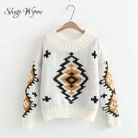 Shugo Wynne 2017 Autumn Winter New Women Vintage Knit Pullover Sweater O Neck Long Sleeve Geometric