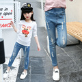 Spring New Style Baby Girl Jeans Holes Design Paint Decor Kid Denim Trousers Children Elastic Waist Fashion Skinny Bottoms Pants