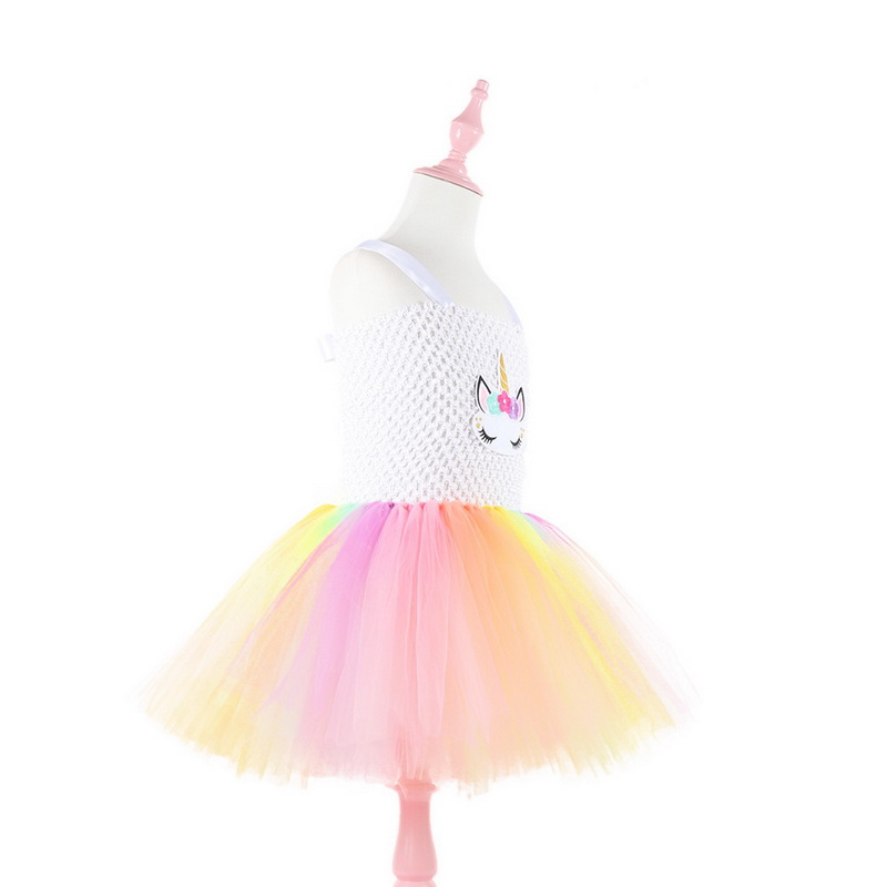 New Rainbow Unicorn Tutu Tulle Dress With Headband Princess Flower Girl Party Dress Kids Halloween Cosplay Costume Vestidos in Girls Costumes from Novelty Special Use