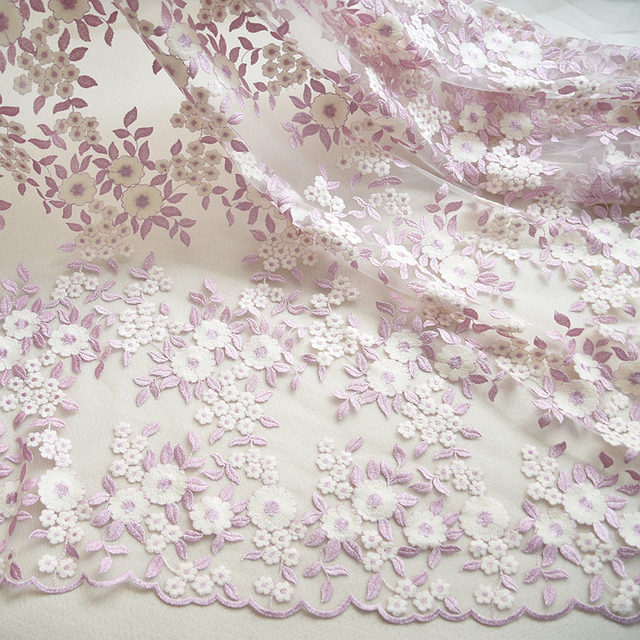 741c660b94f Off White Lavender Floral Embroidery Lace Fabric Tulle Bridal Lace Fabric  Wedding Party Lace Fabric