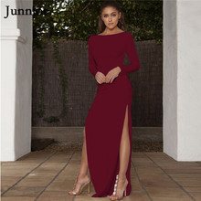 Junnior Side Split Maxi Dress Women Spring Summer New Sexy Plain Party Dresses Bodycon Long Sleeve Red Open Back Vestido