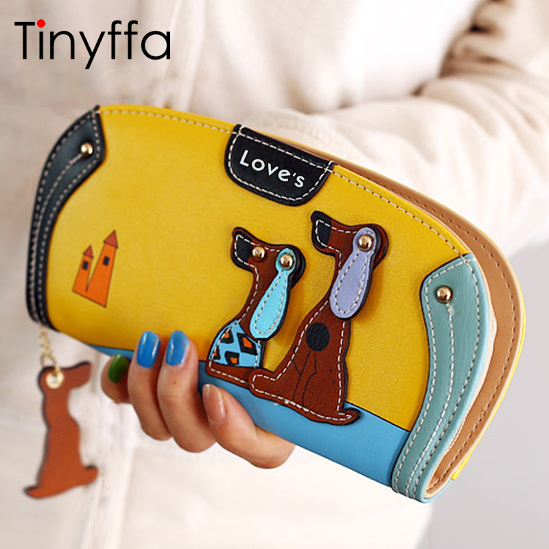 где купить Tinyffa Cartoon dog women purse bag designer wallets famous brand women wallet long money clip dollar price zipper coin pockets дешево