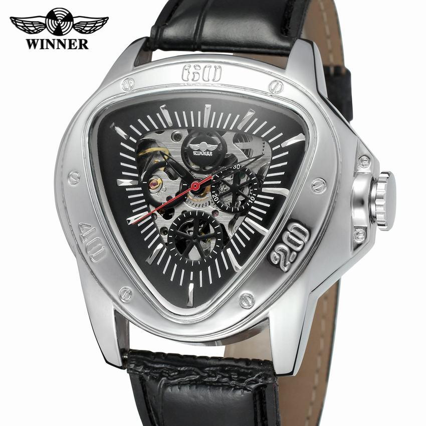 2019 Neuestes Design Gewinner 2018 Mode Casual Serie Hohl Gravur Hand Wind Männer Armbanduhr Top-marke Luxus Mechanische Hohl Skeleton Uhren