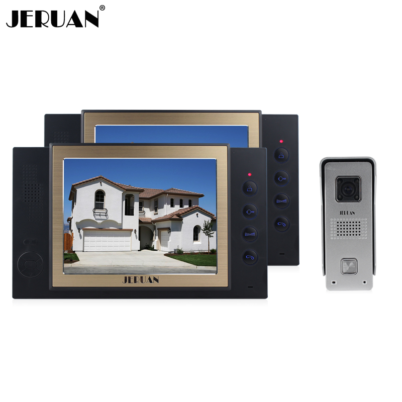 JERUAN 8 inch video door phone intercom system 1 Camera 2 monitors system rain-proof  with video recording and taking photo jeruan 8 inch video door phone high definition mini camera metal panel with video recording and photo storage function