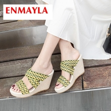 ENMAYLA 2019 New Arrival Women Super High Platform Slippers  Mixed Colors Summer Outside Womens Shoes Size 34-40 LY2359