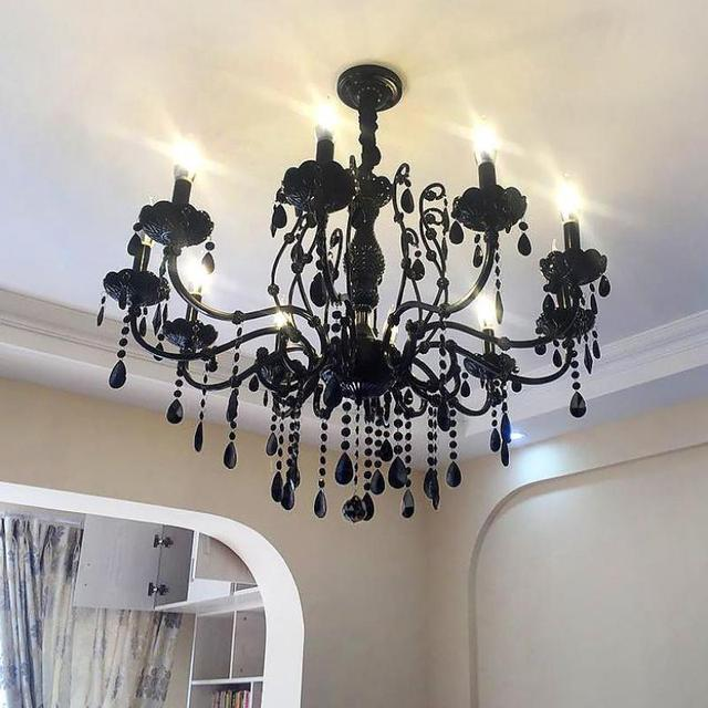 Antique Black Led Chandelier Crystal Lamps dining room Cafe Bar Lampadario Moderno Retro Iron Candle holder Lighting chandeliers