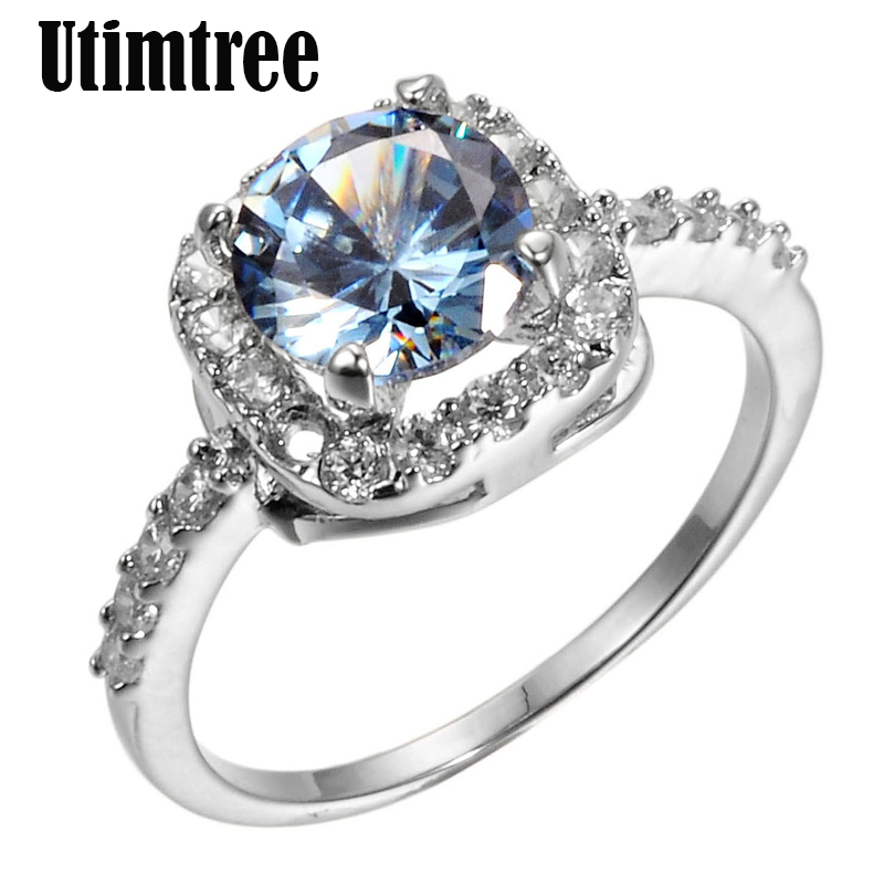 Utimtree Hot Classic Silver Rings for Women Wedding Engagement Acessory 5A Cubic Zirconia Crystal Finger Ring Proposal Jewelry