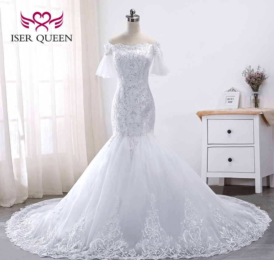 African Beautiful Lace Mermaid Wedding Dress New Beading Embroidery Flare Sleeve Plus Size White Wedding Dresses Wx0013 Wedding Dresses Aliexpress,Wedding Night Dress For Bride