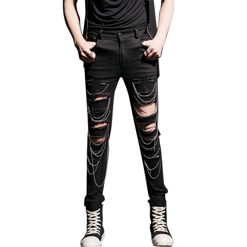 Men Hole Chain Rivets Jeans Male Fashion Casual Slim Fit Denim Pants High Street Rock Punk Jeans Trouser Stage Show Costume