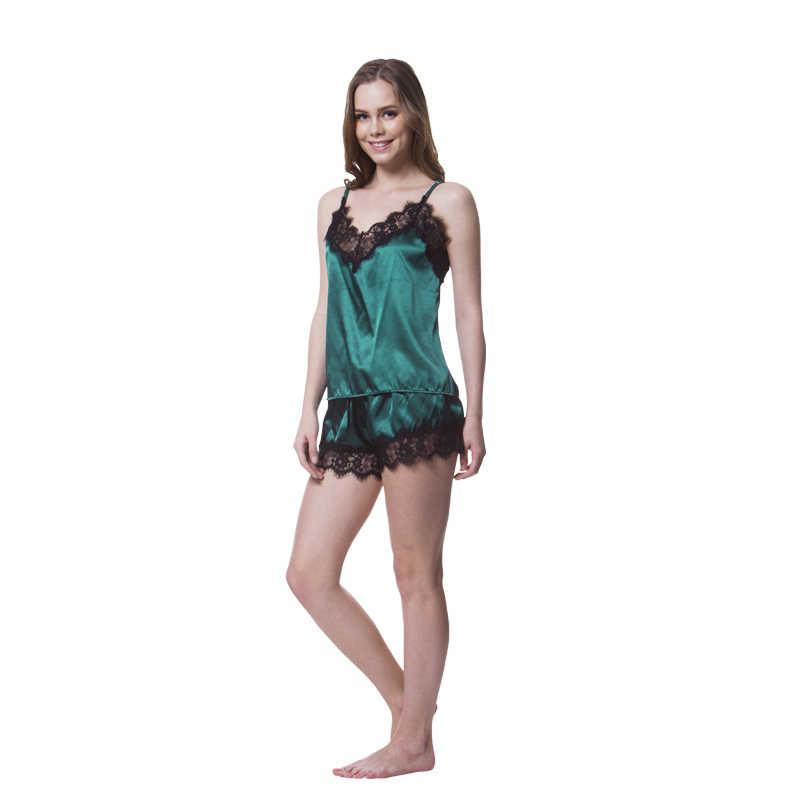 291ba2d2aa ... Women s Pajamas Lace Top and Shorts Pajama Sets Summer Sexy Pyjama  Satin Pajamas Home Suit Female ...