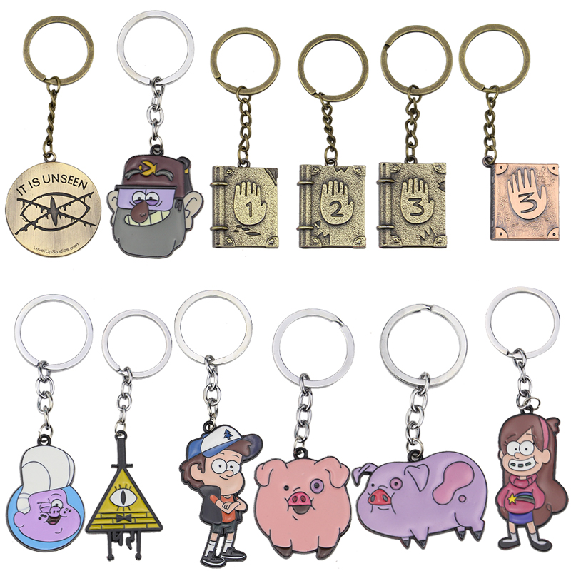 Fashion Gravity Falls Keychain For Students Cute Cartoon Round Pendant Key Chains Boys Girls Gifts Anime Rings