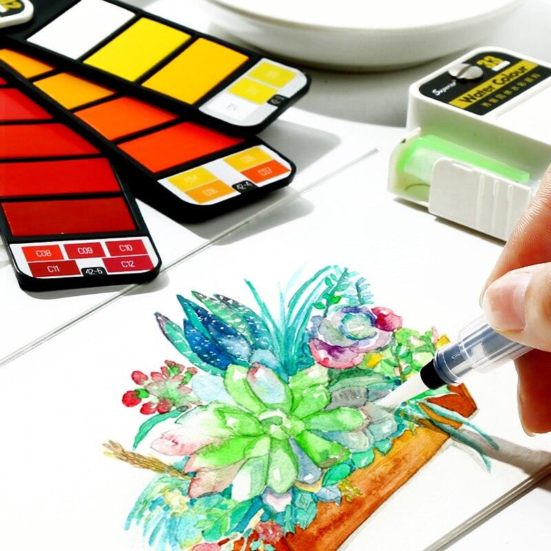 18/25/33/42 farben Pigment Farben Set Solide Aquarell Mit Waterbrush Für Zeichnung Malerei Aquarelle faltbare anzug