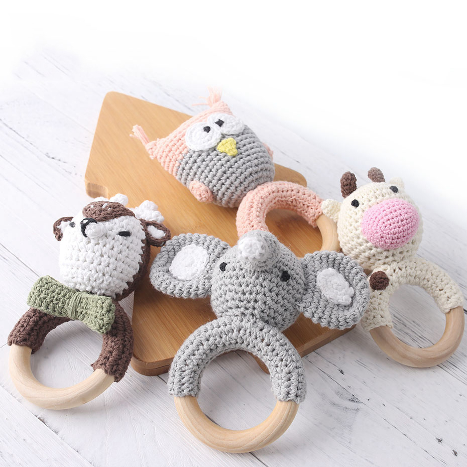 Baby Teether 1pc Animal Crochet Wooden Ring Rattle Wooden Teether For Baby Products DIY Crafts Teething Rattle Amigurumi Toys