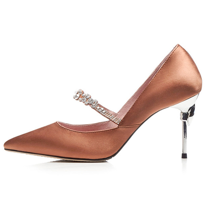 2018 New Pointed Toe Mary Janes Shoes Women High Heels Crystal Wedding  Shoes Stiletto Heels Bridal Shoes Pumps-in Women s Pumps from Shoes on  Aliexpress.com ... 5769f6444c5d