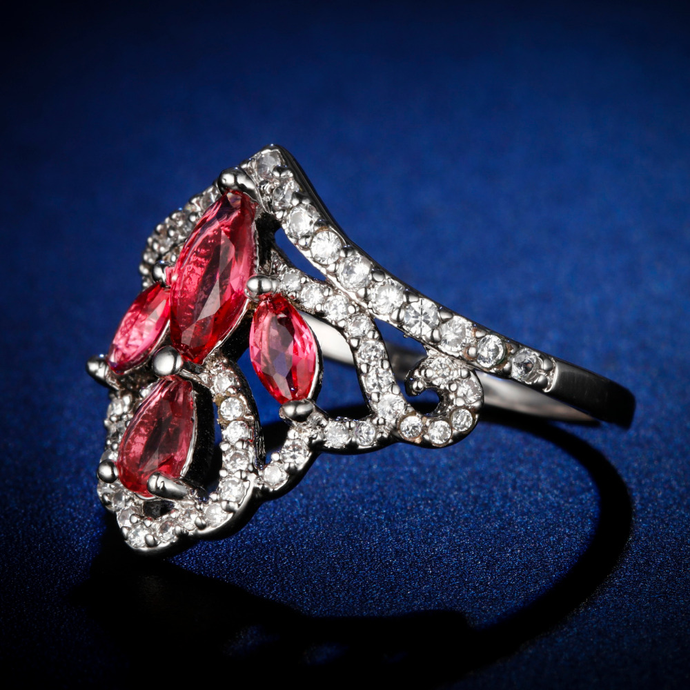 Original Design Handmade crown style cz unique style marquiese ruby Ring Cubic Zirconia Hot Ins sterling silver 925 in Rings from Jewelry Accessories
