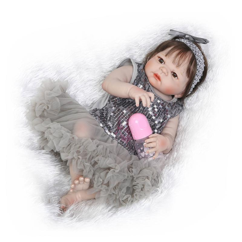 NPK COLLECTION 56CM Full Body Silicone Reborn Baby Doll Girl Bath Toys Soft Vinyl Fashion Dolls Lifelike Babies Boneca Bebe Rebo npk black skin full silicone girl pacifier model baby dolls 56cm lifelike reborn baby boneca can enter water bath doll toys