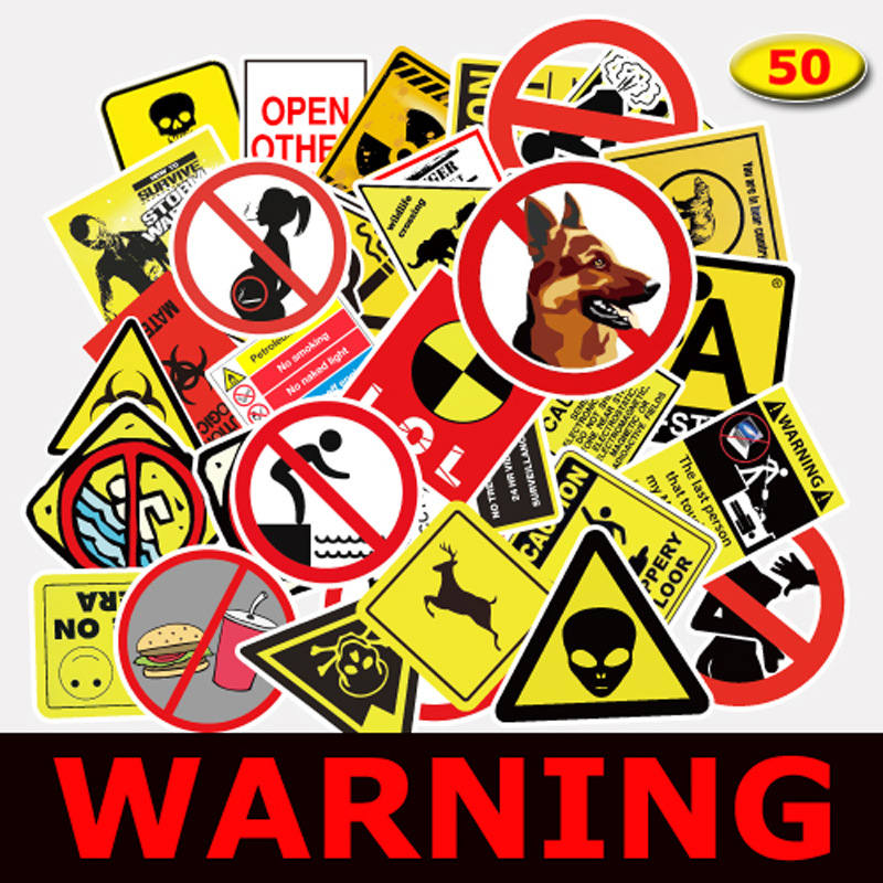 50Pcs/lot Warning Fragile Sign Sticker For Kids Toys Snowboard Laptop Luggage Vinyl Home Decor Fridge Phone Car Styling Stickers