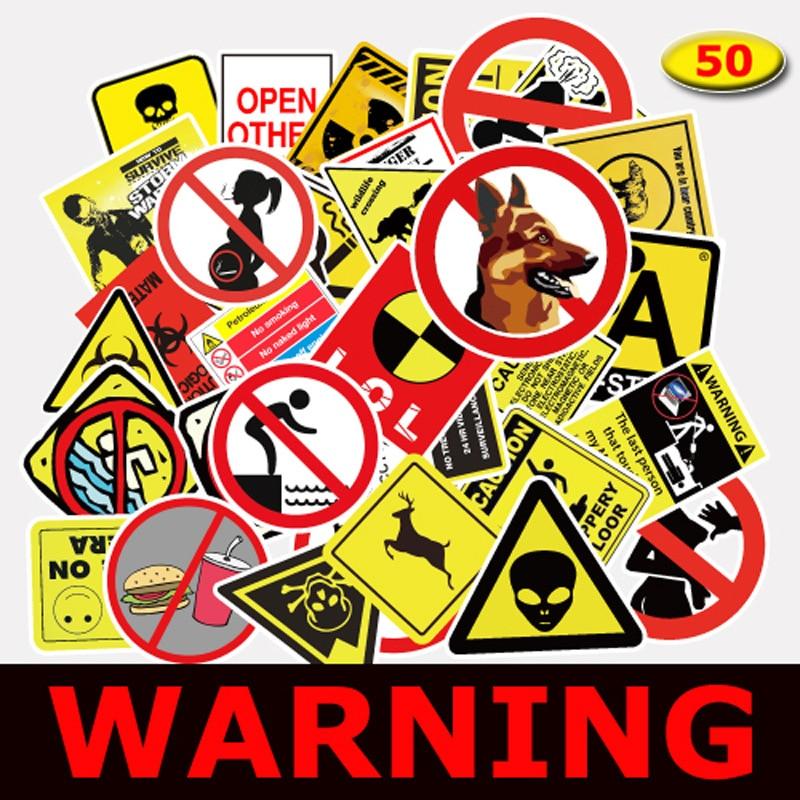 50Pcs/lot Warning Fragile Sign Sticker For Kids Toys Snowboard Laptop Luggage Vinyl Home Decor Fridge Phone Car Styling Stickers