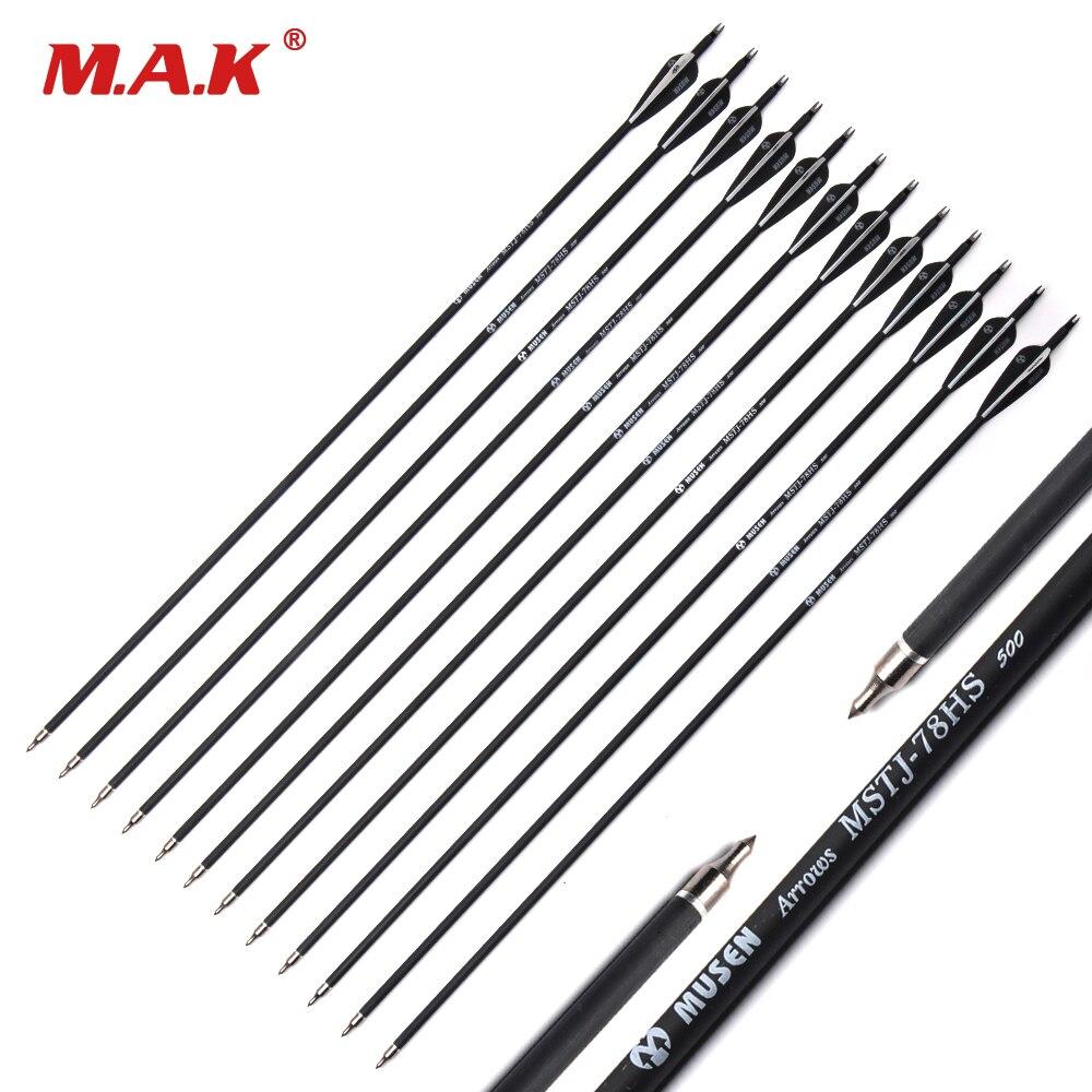 200/500 шт. Оптовая стрелка 7,8 мм 30 винт Spine500 черное перо углерод стрелка для изогнутый/ соединение лук стрела стрельба из лука