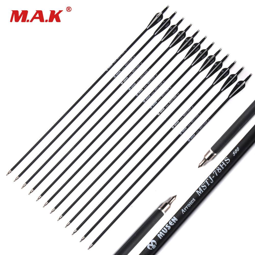 200/500pcs Wholesale Arrow 7.8mm 30 Screw Spine500 with Black Feather Carbon Arrow for Recurve/Compound Bow Arrow Archery hunting archery 12 24pc high quality 30 inch carbon arrow blue turkey feather 20 50 lb outdoor sports
