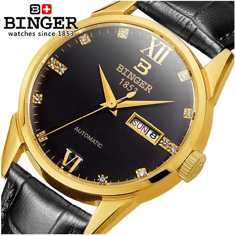 ФОТО Switzerland watches men luxury brand Wristwatches BINGER 18K gold Automatic self-wind full stainless steel waterproof  B1128-19