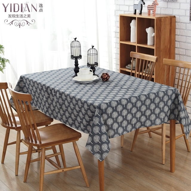 Linen TableCloth Nordic Simple Style Navy Ground Print High Quality Table  Cloth Printed Trees Table Cover