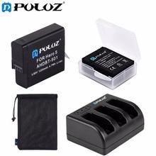 Puluz для Go Pro Интимные аксессуары Батарея + 3-канал Зарядное устройство + сумка для хранения + коробка для хранения комплект для GoPro Hero 5/GoPro Hero 5 Black Edition