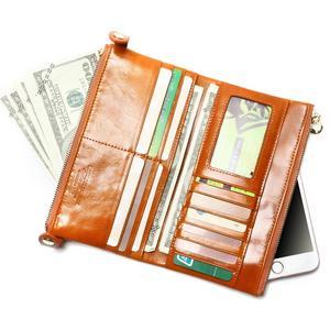 Image 2 - Women Wallets Genuine Leather  Medium Long Organizer Wallet Oil Wax Cowhide Hasp Vintage Lady Clutch Carteira Feminina Purse