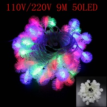 9M 50LED String Light Snow Pompon Christmas Xmas Wedding Party Decoration Lights AC 110V 220V Outdoor Indoor Waterproof Colorful