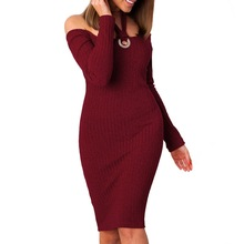 Sexy Sling Women's Dresses Long Sleeve Slash Neck Solid Hip Knee-Length Sheath Dress Women's Clothing Spring Autumn Dropship Y6
