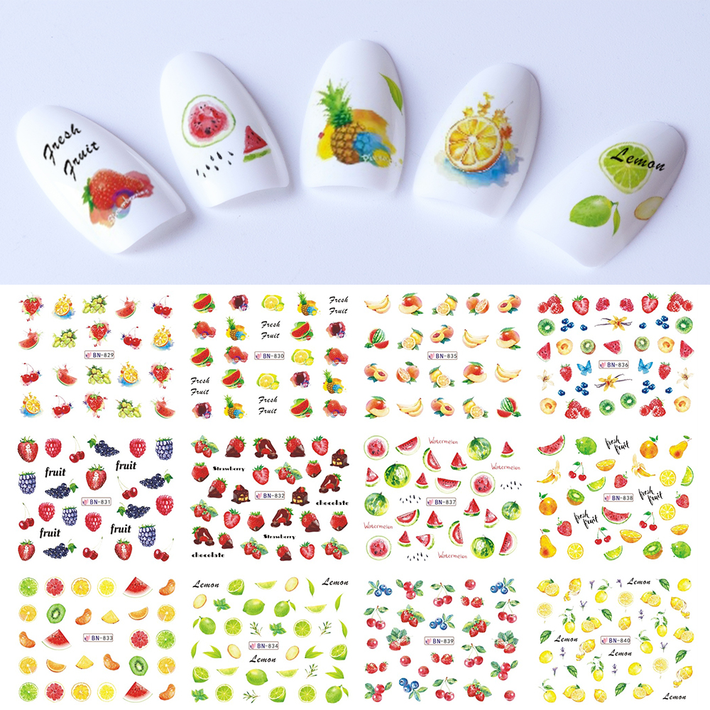 Mixed 12 Summer Designs Nail Sticker Set Fruit Water Decals Transfer Colorful Slider Tips Nail Art Watermelon Decor SABN829-840 12 sheets halloween nail art water transfer sticker deer full cover decals skull fancy stickers wrap tips decoration a1093 1104