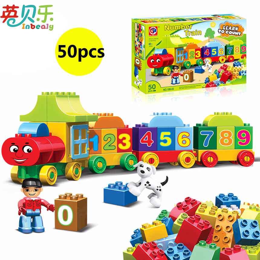 50PCS Blocks Number Train Building Set Compatible with Legoed Duploe Educational DIY Building Bricks Toys For Kids Birthday Gift