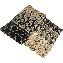 bazin riche getzner african materials black gold fabric 2019 high quality beaded tulle lace nigerian gele headtie 5+2 yards/lot hfx gold bazin riche getzner 2019 top quality nigerian lace fabric 100
