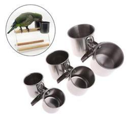 Домашних птиц Еда подачи воды чашки с зажимом Нержавеющаясталь попугаем стенд подачи Еда распределитель двойной чашки