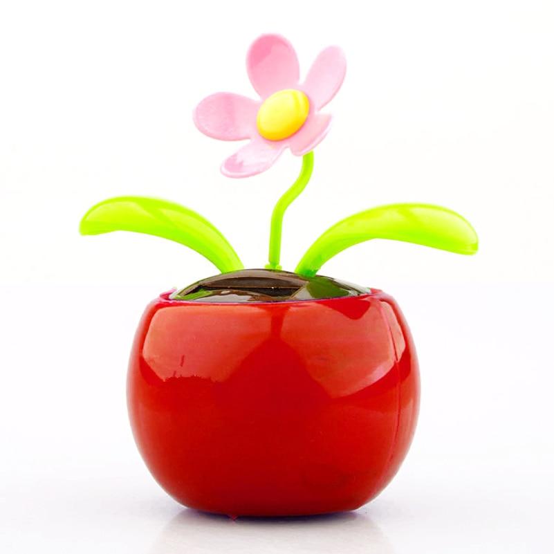 1pcs Solar Energy Automatic Swinging Sun Flower Shaking Head Apple Flower Car Decoration Doll Home Interior Decor Accessores