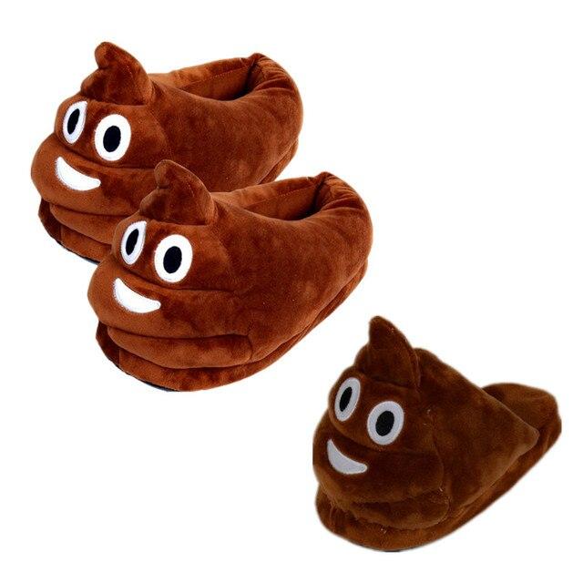 יפה מתנת ולנטיין Emoji קקי חרא בית נעלי בית לילדים נשים גברים ביטוי נעלי קטיפה נעלי בית חם סמיילי סמיילי