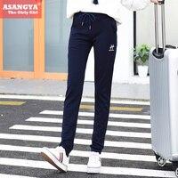 Asangya 2017 delle donne primavera/estate della metà di vita pantaloni casual pantaloni con coulisse pantaloni della tuta con logo embroidary 704