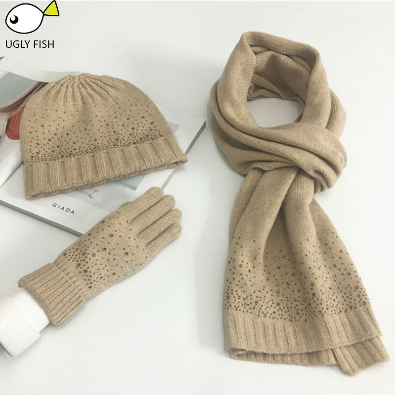 Hat Scarf Set  Scarf, Hat & Glove Sets Knitted Winter Hat And Scarf Woman With Diamond