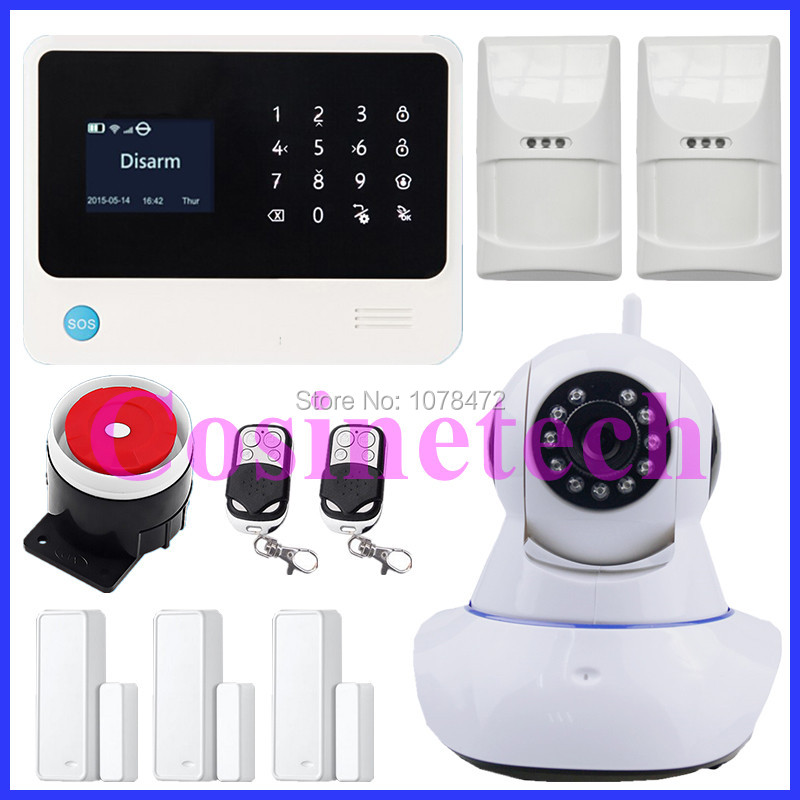 Latest WiFi GPRS SMS Home House GSM Alarm System with IP Camera,pet friendly immune motion detector +two-way door sensor,siren new arrival 720p ip camera with gsm function alarm accessories surveillance camera sms fsk 868mhz gsm wifi alarm system