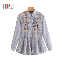 ZA Women 2018 Sweet Ruffles Floral Embroidery Plaid Loose Shirts Long Sleeve Pleated Blouse Female Casual